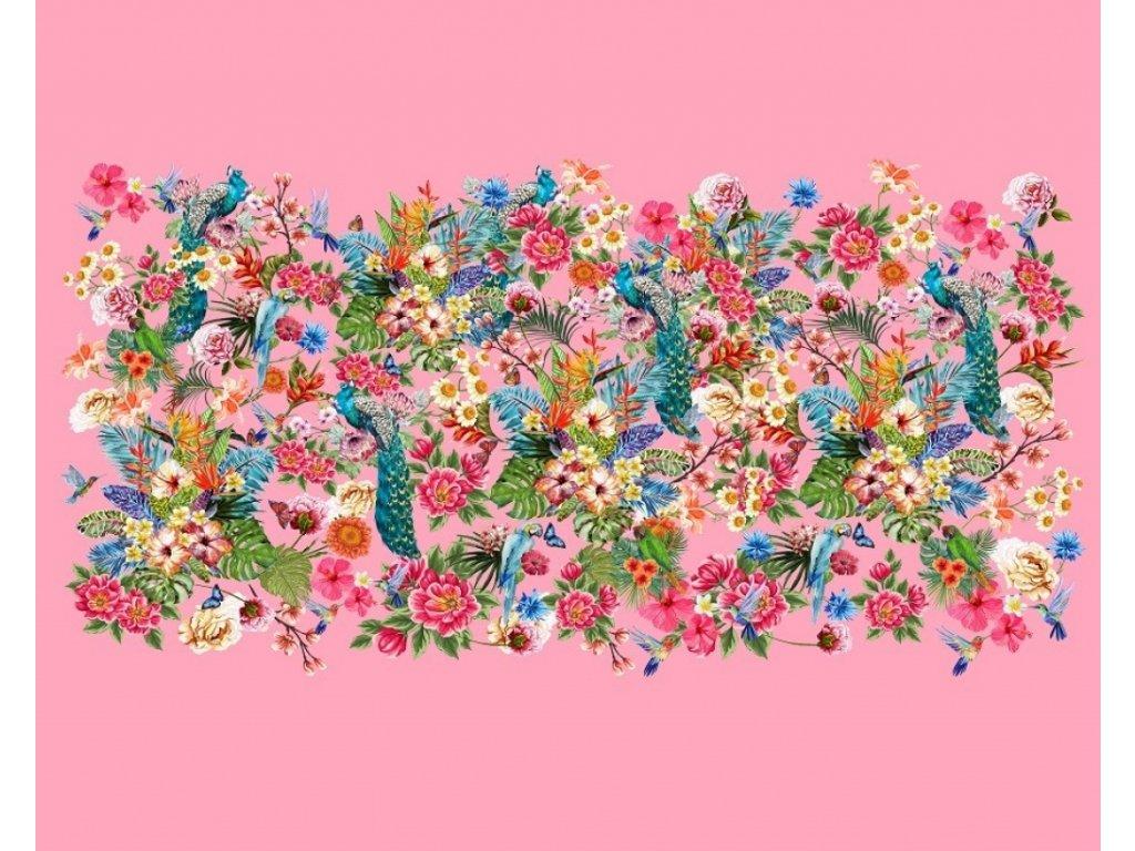 Bavlněný úplet s dig. tiskem, šíře 150 až 160 cm,  Květinky na růžovém podkladu (panel 120 x 150cm)
