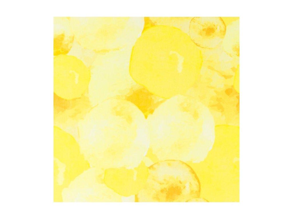 Bavlněný úplet s dig.tiskem, šíře 150 až 160 cm, tiskem vodní žluté BALONY, čarodějnice