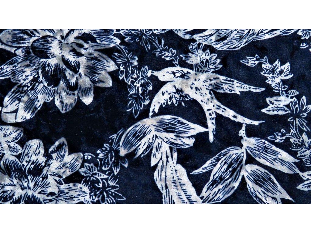 Samet Flora s digitálním tiskem - tmavě modrá