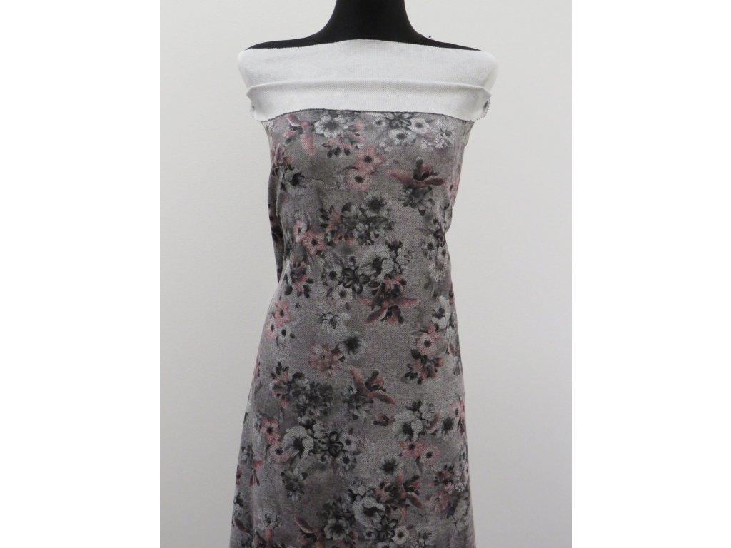 Svetrovina Lacoste, šedá, květy
