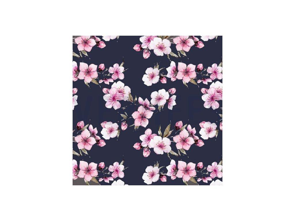 Bavlněný uplet digitální tisk třešňové květy, tmavě modrý podklad