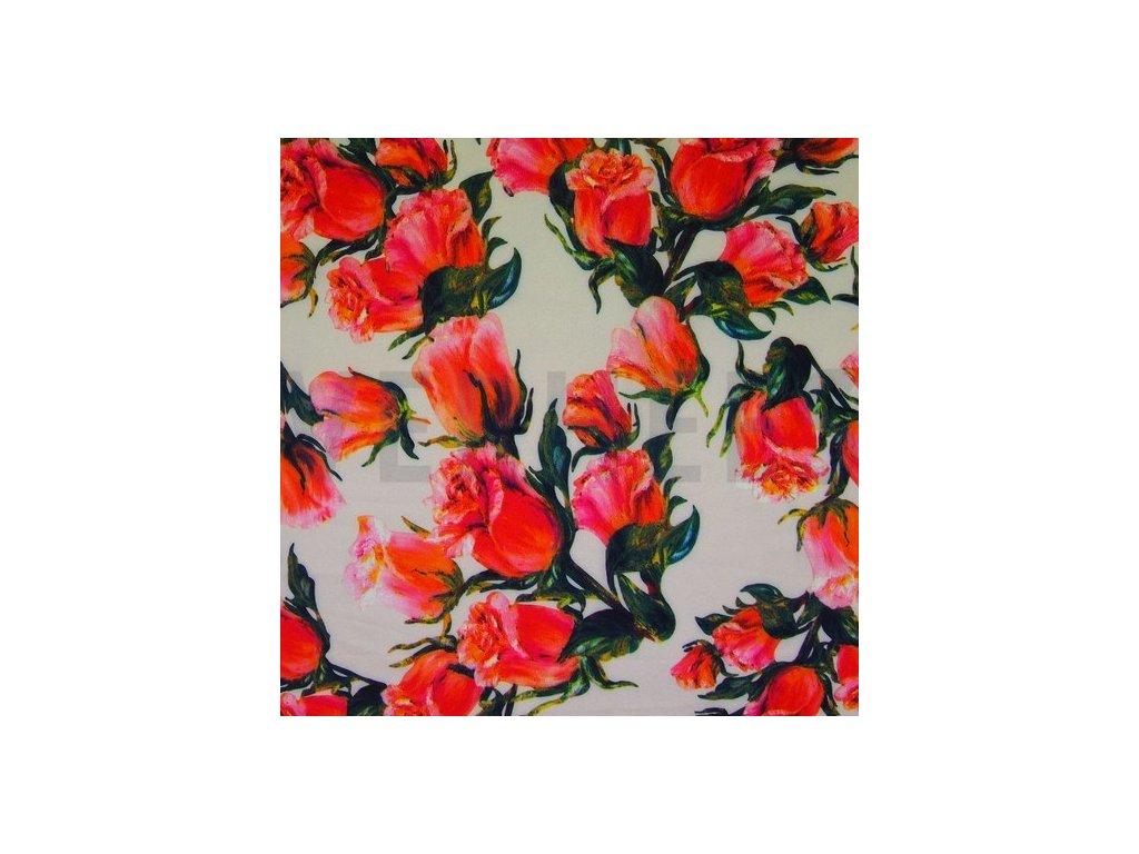 Silky, šatovky, pavučinka, růže na smetanovém podkladu