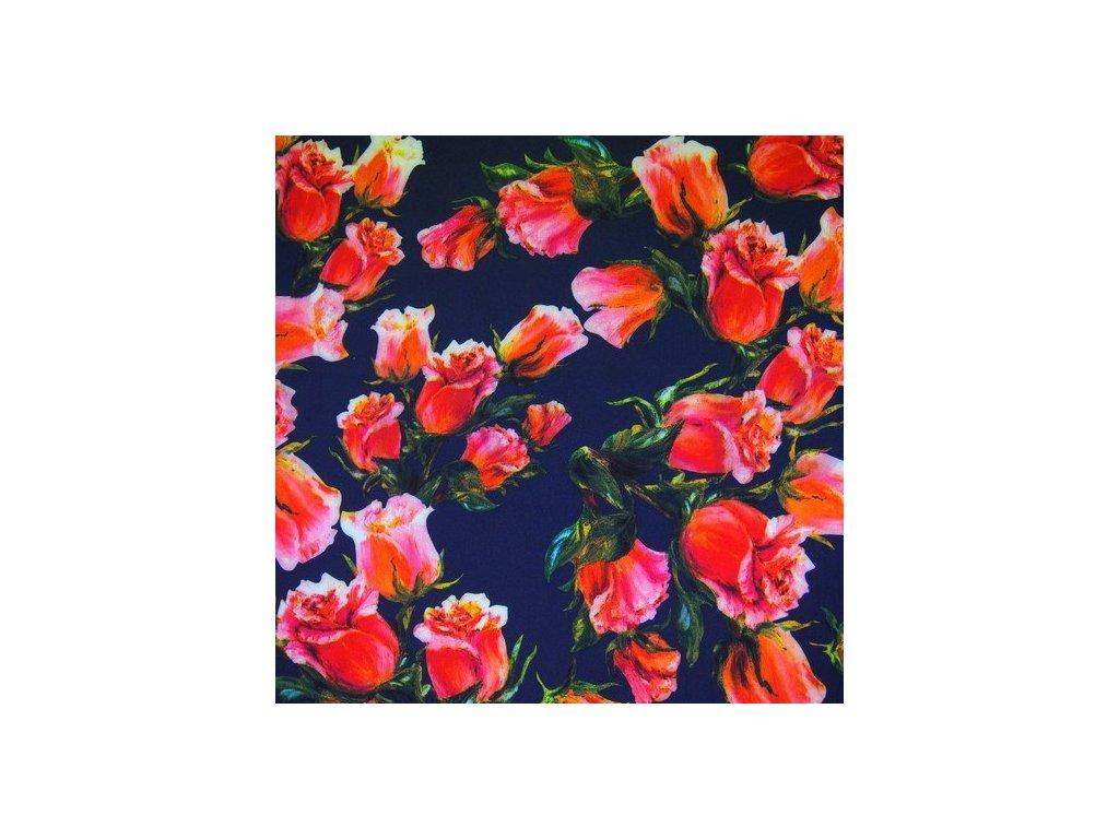 Silky, šatovky, pavučinka, růže na tmavě modrém podkladu