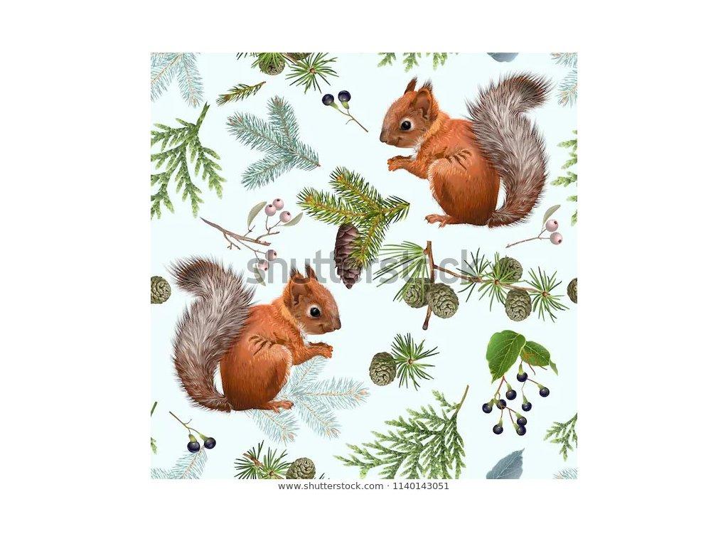 Teplákovina nepočesaná, 280 g, š. 180 cm,  veverky