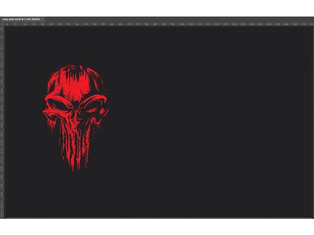 Bavlněný úplet s dig.tiskem, 220 g/m2, skull červený