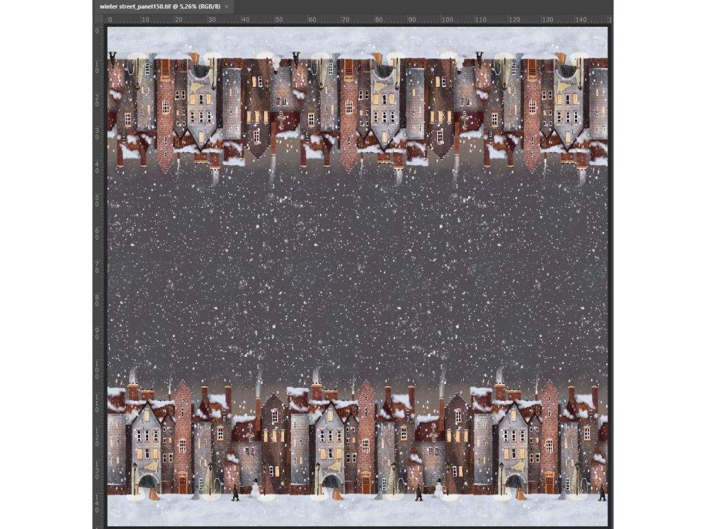 Svetrovina KAMANG, domečky, šedý podkladí, rub bílý, panel 150 cm dlouhý