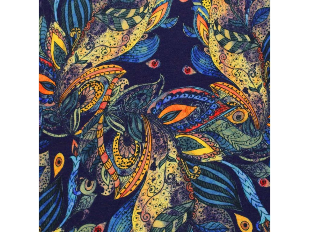 Viscose Jersey Flower Bohemian Paisly 800x800