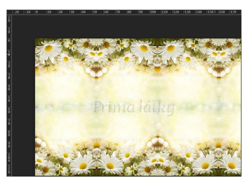 Bavlněný úplet šíře 180 cm, panel kopretiny, 220g/m2