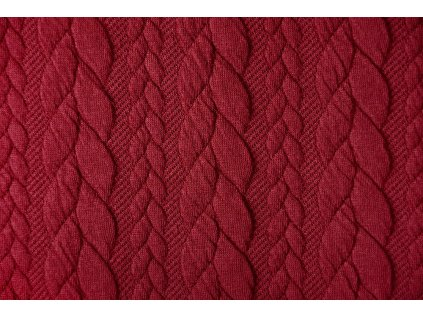 knitted cable fabric tricot red