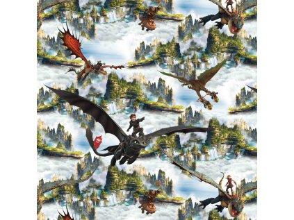 Bavlněný úplet s dig. tiskem, šíře 150 až 160 cm,  Jak vycvičit draka