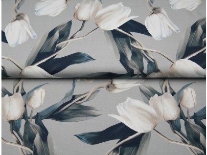 Bavlněný úplet s dig.tiskem, šíře 150 až 160 cm, tiskem Tulipány - šedý podklad