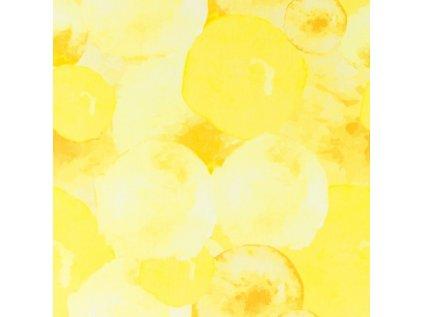 Bavlněný úplet s dig.tiskem, šíře 150 až 160 cm, tiskem vodní žluté BALONY na balónové sukně