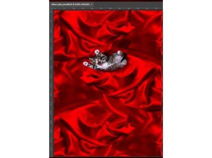 Bavlněný úplet 220 g, 180 cm šíře, kočka červená, panel šíře 60 cm