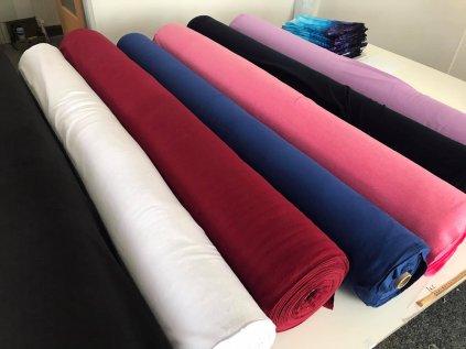 Teplákovina jednobarevná, počesaná, šíře 180cm, červeno-bordo barva