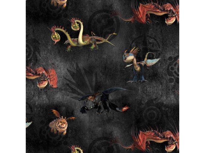 French terry, tepláčkovina s digitálním tiskem -  Jak vycvičit draka