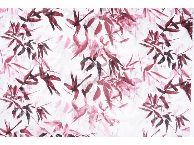 printed cotton linnenlook bamboo plant pink
