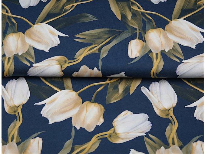 Bavlněný úplet s digitálním tiskem Tulipány - navy podklad skladem