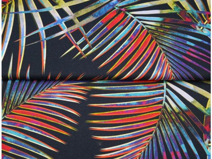 Bavlněný úplet s digitálním tiskem Listy vzor 3