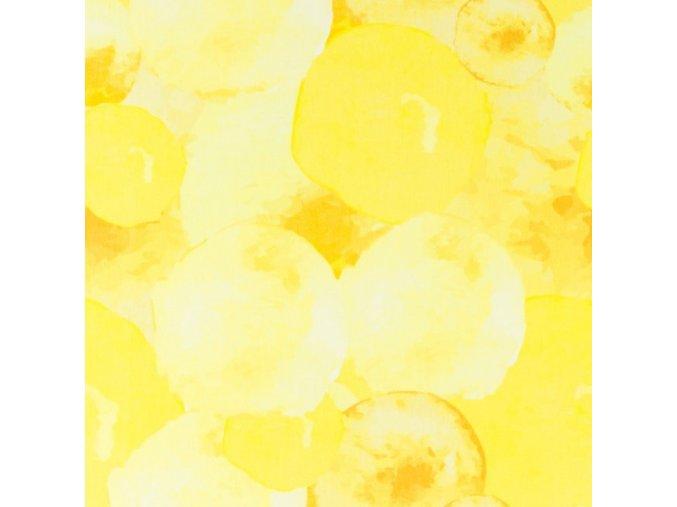 Bavlněný úplet s digitálním tiskem vodní žluté BALONY na balónové sukně