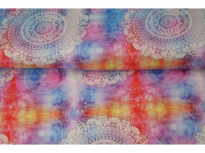 Bavlněný úplet s digitálním tiskem mandaly modré