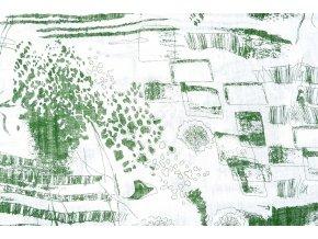 printed cotton linnenlook sketch green