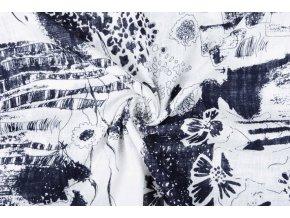 printed cotton linnenlook sketch marine