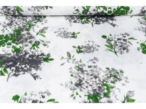 printed cotton linnenlook flowersplant green