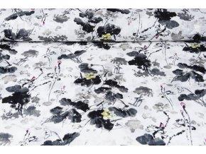 printed cotton linnenlook flowers grey