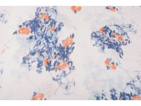 printed cotton linnenlook roses blue orange