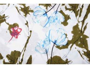 linnenlook bedrukt bloemen licht blauw