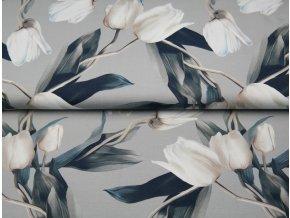 Bavlněný úplet s digitálním tiskem Tulipány - šedý podklad