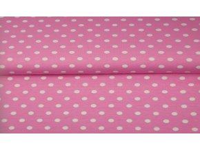 Bavlněný úplet puntíky na růžovém pozadí