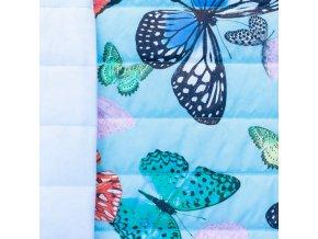 Světle modrý prošev - motýli