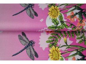 Úplet s digitálním tiskem -  Květinový vzor s vážkami