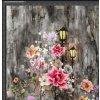 Bavlněný úplet, lampy a květiny