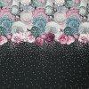 Úplet černý, barevné květy a bílé puntíky, š.175,