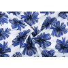 linnenlook printed tropical leaves kobalt blue 1