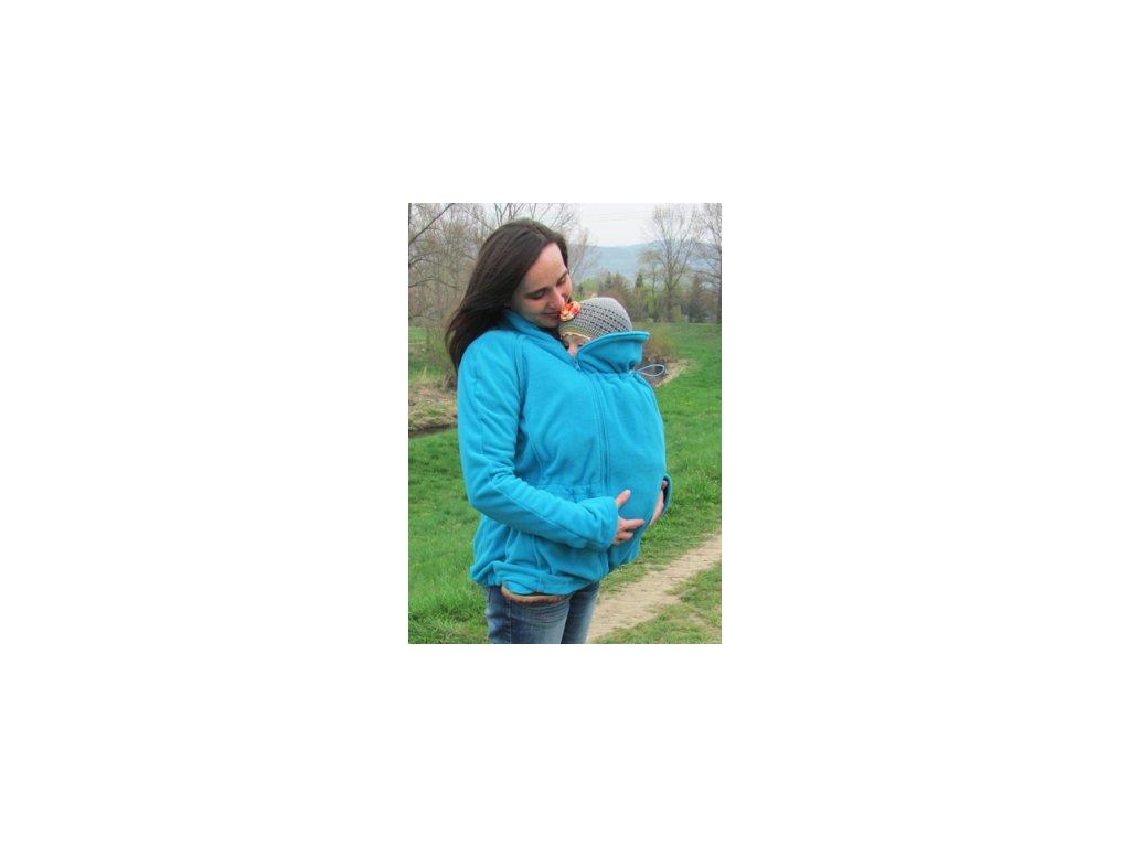 Fleecová mikina na nosenie detí Adelay bez tehotenskej vsadky (Varianta Tyrkysová)