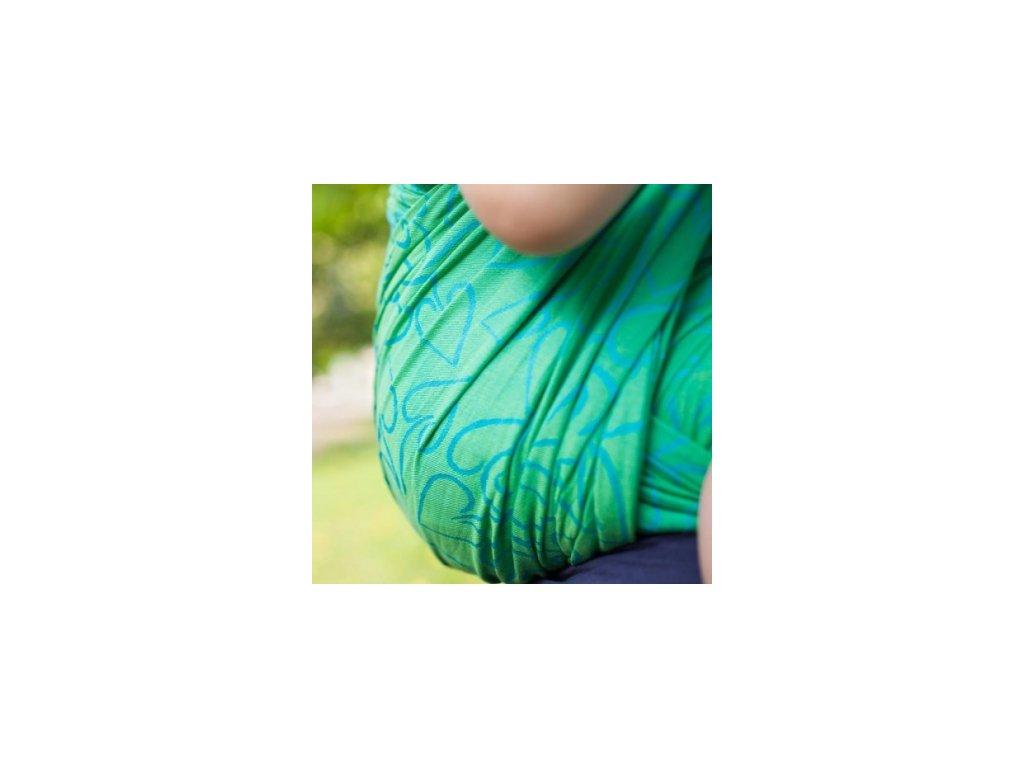 Požičovňa- šatka veľkosť 4, Fidella Amors love arrows green (100% bavlna)