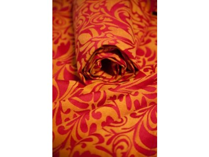 Pevná šatka na nosenie detí Lenny Lamb Pokrútené lístie (Varianta Červená-oranžová)