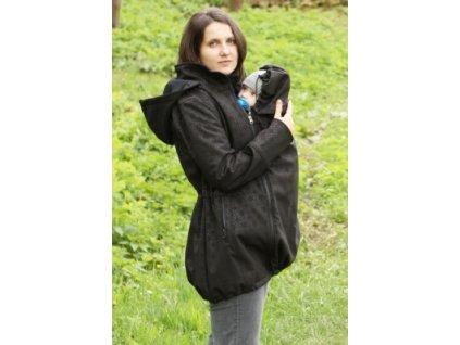 Softshellový kabát na nosenie detí Adelay (Varianta Čierny s ornamentom)