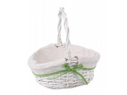 bialy koszyk wiklinowy z materialem na swieconke mix kolorow