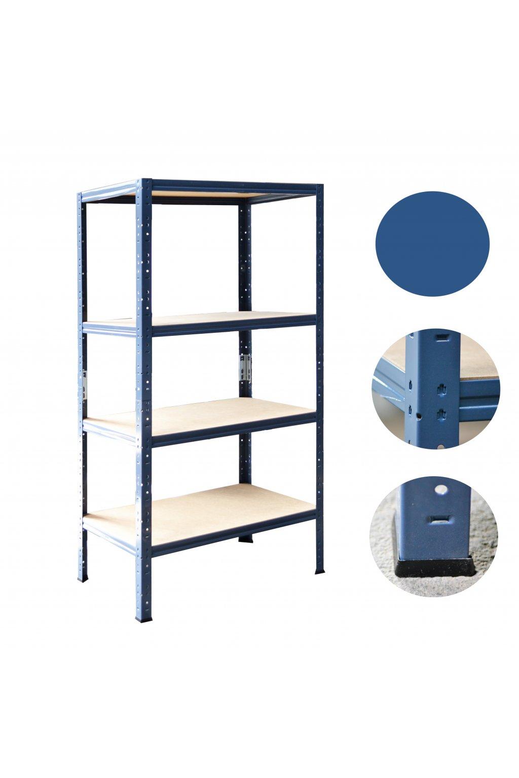 ovový regál 180x75x45 modrý