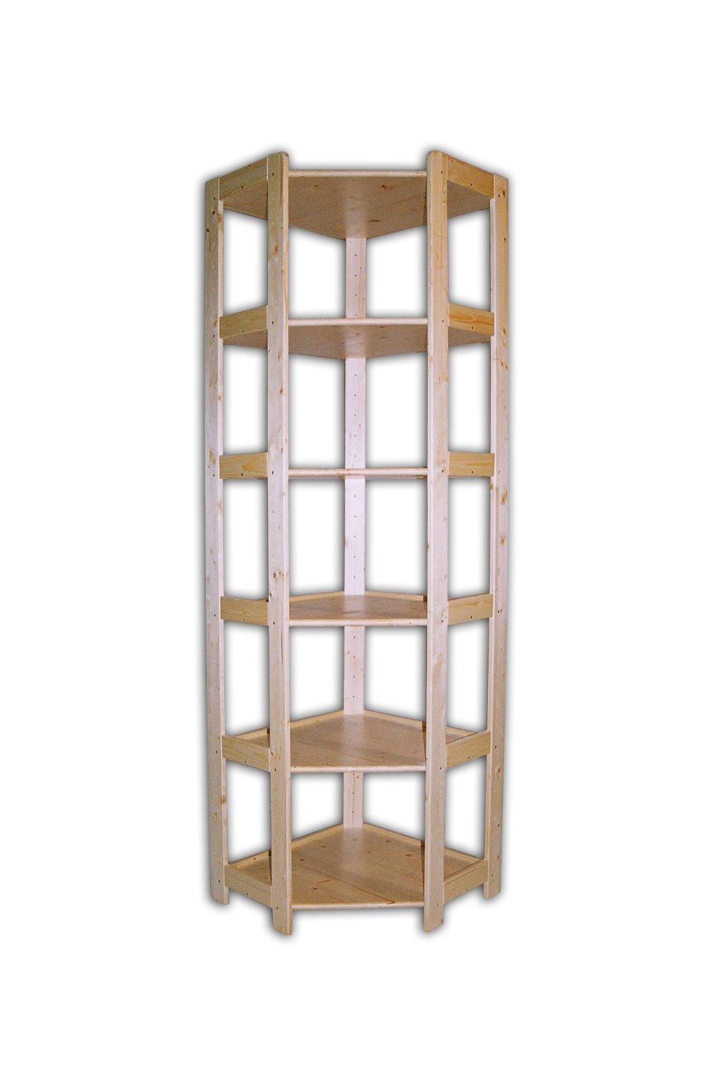 Dřevěný rohový regál 204x60x34