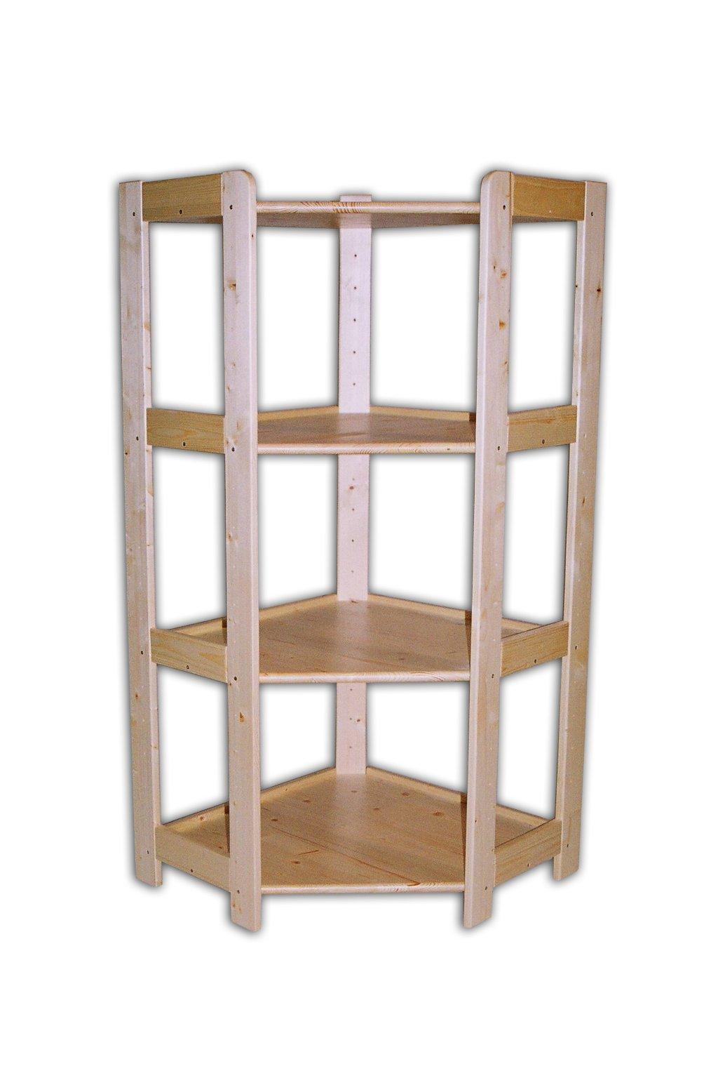 Dřevěný rohový regál 128x70x44