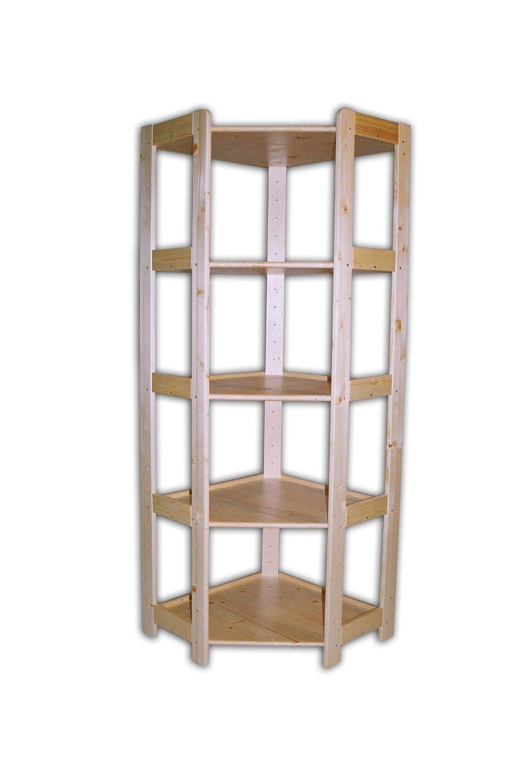 Dřevěný rohový regál 166x70x44