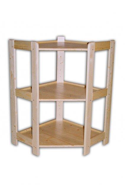Dřevěný rohový regál 89x60x34