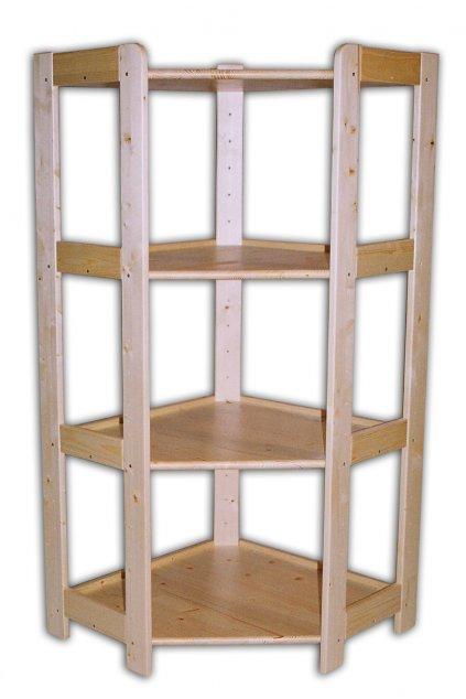 Dřevěný rohový regál 128x60x34
