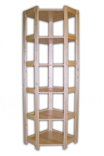 Dřevěný rohový regál 204x70x44
