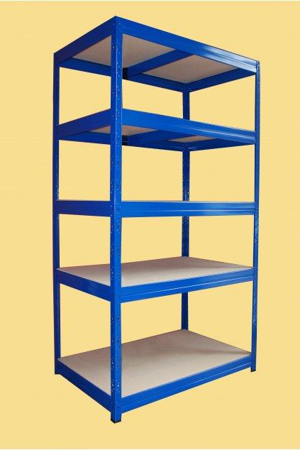 Kovový regál 177x90x60, 5 polic, modrý lak
